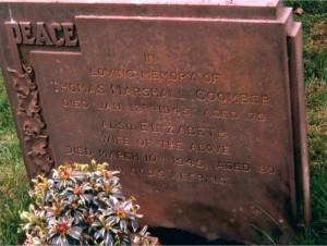 Thomas & Elizabeth Coomber's gravestone